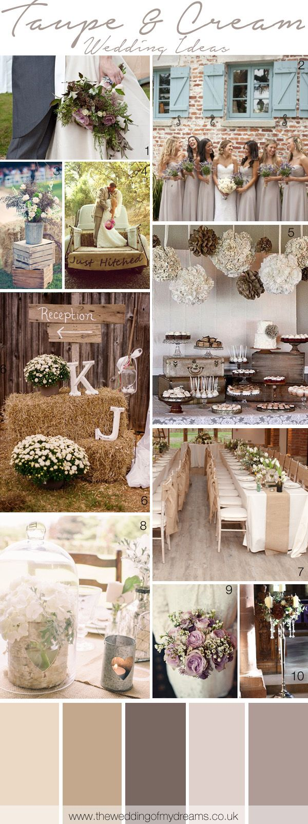 Cream and Taupe Wedding Inspiration and Ideas | www.endorajewellery.etsy.com - Custom Swarovski crystal jewelry