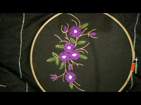 hand embroidery 3D flower and leaves with easy basic stitches
