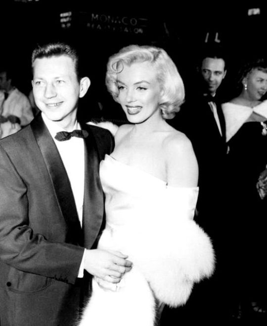Marilyn Monroe and Donald O'Connor at the premiere of Call Me Madam, 1953.