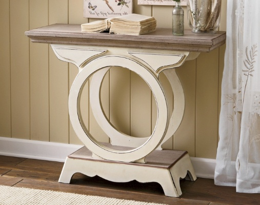 Two-Tone ConsoleDecor, Tone Consoles, Cream Tables, Side Tables, Consoles Tables, Distressed Furniture, Tables Ideas, Country Doors, Console Tables