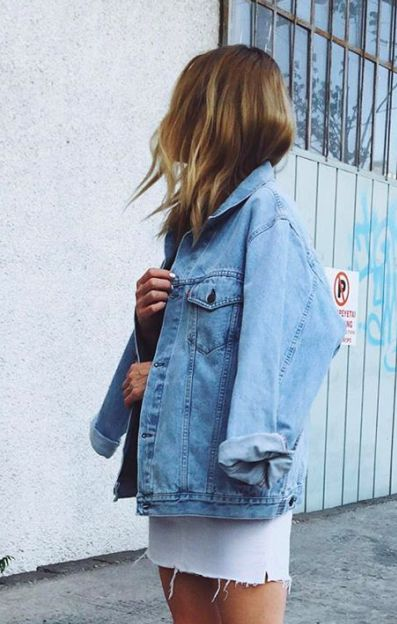 denim jacket + white denim skirt
