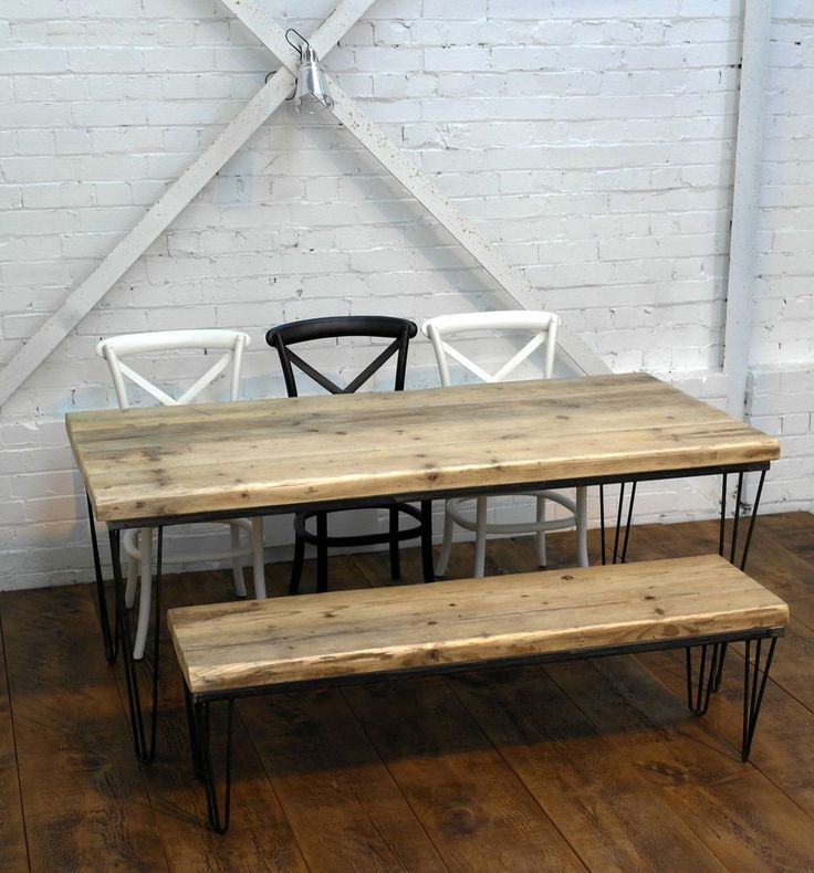 Hairpin Legged Industrial Rustic Reclaimed Plank Top Dining Table UK Made