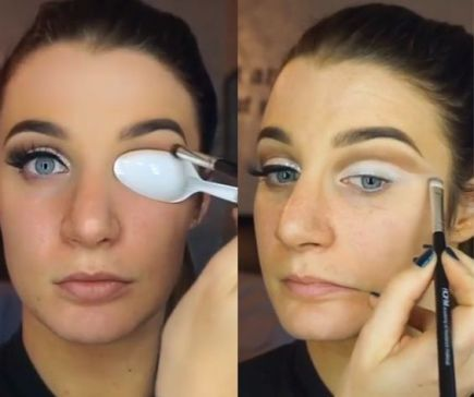 Using a spoon is a great way to get the perfect eye shadow crease!