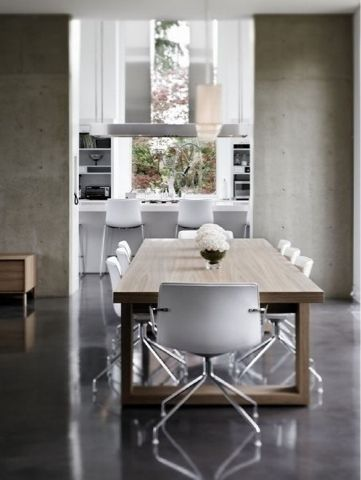 polished concrete floors in dining room