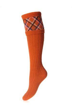 Campbell's of Beauly - Lady Melrose Shooting Socks Burnt Orange