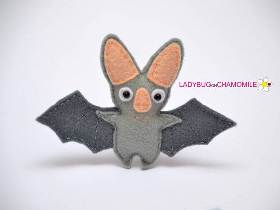 Felt GHOST BAT stuffed felt Ghost Bat magnet or ornament
