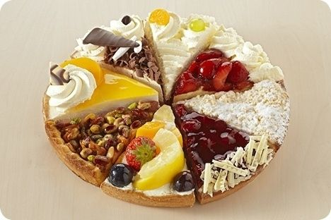 Dutch Vlaai: pies or tarts consisting of pastry and filling, usually topped with fruit, nuts and/or powdered sugar. Topped with whipped cream.