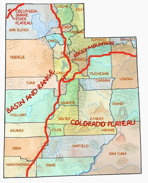 Map Of Georgia Physiographic Regions.Map Of Physiographic Provinces In Utah Utah History Utah County