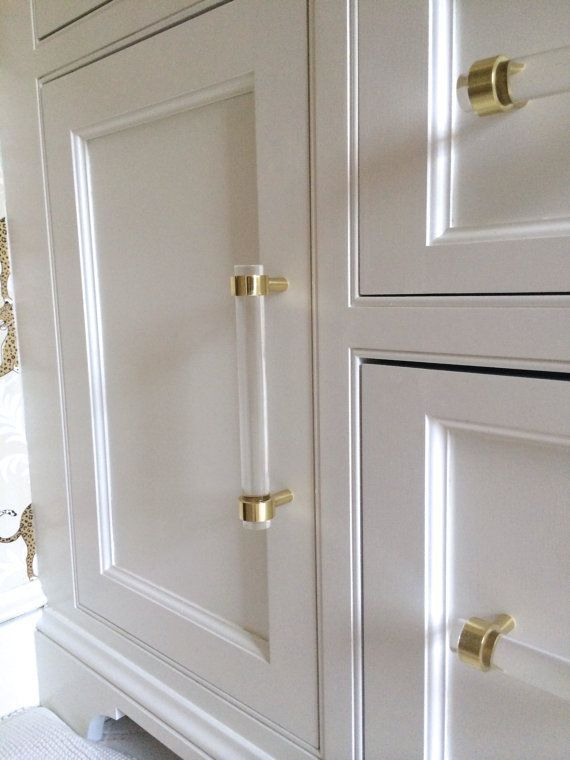 Lucite Drawer Pulls Crown Post 3 4 Dia Polished Brass
