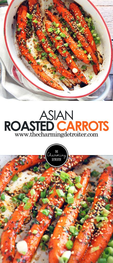 Asian-Style Oven Roasted Carrots: Oven-roasted carrots get kicked up a notch with an Asian flavor profile, including spicy gochujang paste and green onions.
