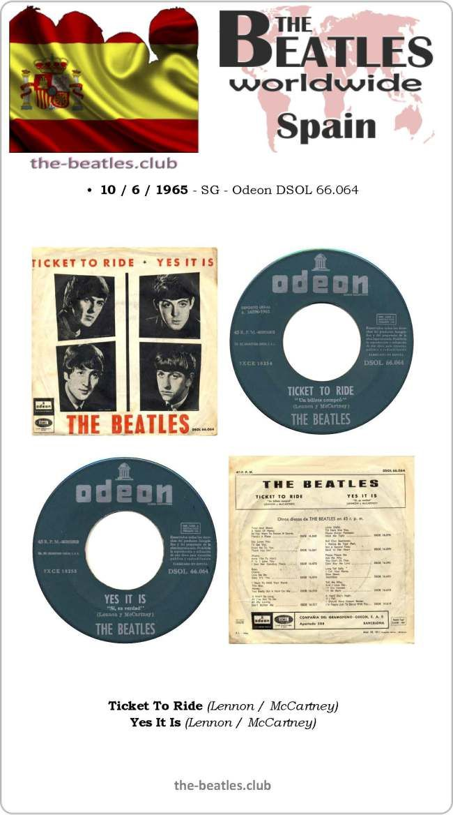 The Beatles Spain Single Odeon DSOL 66.064 Ticket To Ride Yes It Is Lyrics Vinyl Record Discography