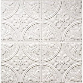 Dimensions Matte White Faux Tin 15/16-in Drop Acoustic Ceiling Tile (Common: 24-in x 24-in; Actual: 23.75-in x 23.75-in)