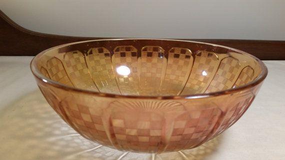 Irridescent Marigold Checker Pattern Carnival Glass Serving Bowl