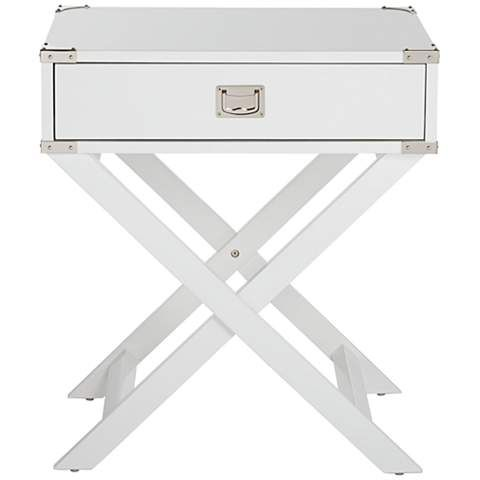 Bledsoe Crossed Base White Accent Table - #7F101 | LampsPlus.com