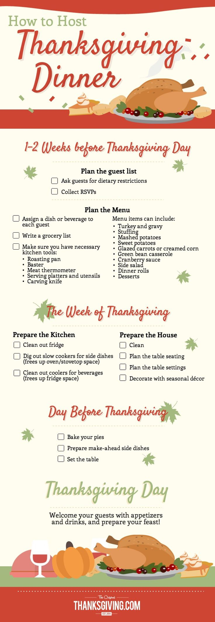 Timeline for hosting Thanksgiving dinner from Thanksgiving.com