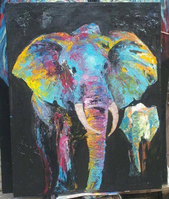 Father and Son 70 x 80cm $200   #Elephant #Art #Kilitingatinga