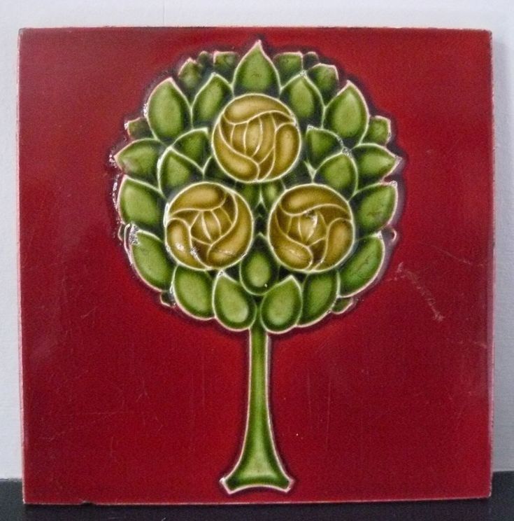Antique Majolica Art Nouveau Red Tile Stylised Tree & Mackintosh Glasgow Roses