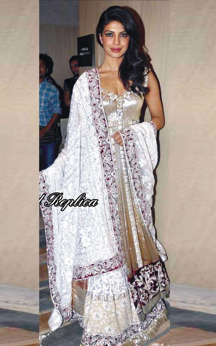 Priyanka Chopra White Net Bollywood Lehenga Choli