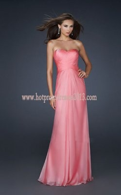 Strapless Elegant Pink Long Prom Dress for Cheap
