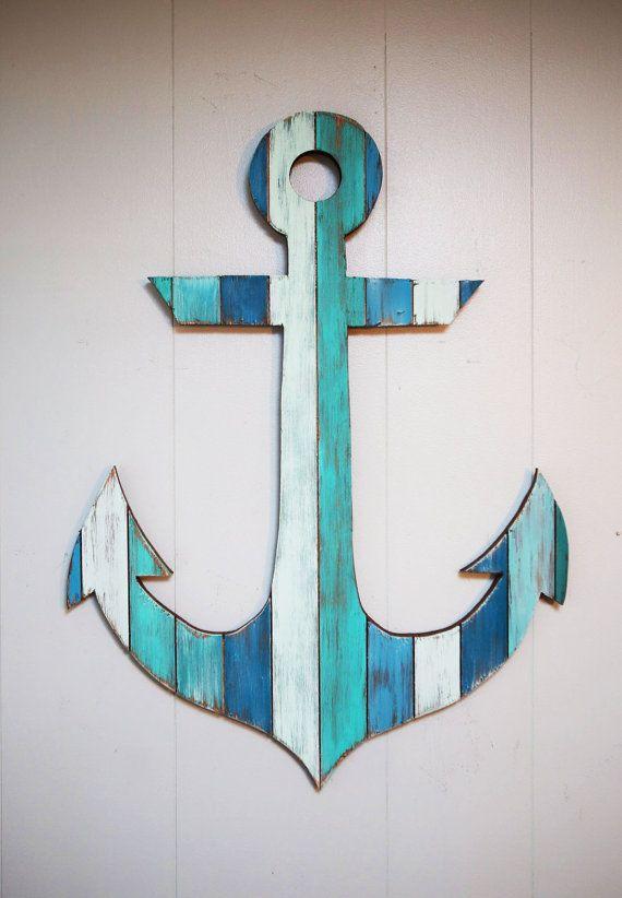 Ancla de madera pintada 18 por CoastalCreationsNJ en Etsy
