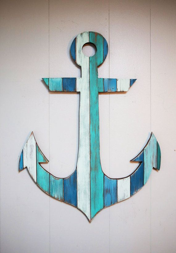 Painted wood anchor 18 anchor bathroom anchors and beaches for Anchor decoration
