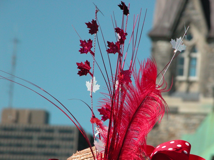 Fascinator hat closeup Canada Day 2011 on Parliament Hill, Ottawa, ON