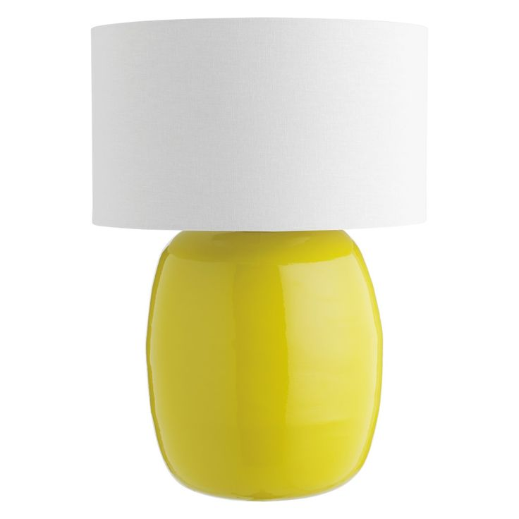 POPP Yellow bamboo table lamp with fabric shade | Buy now at Habitat UK
