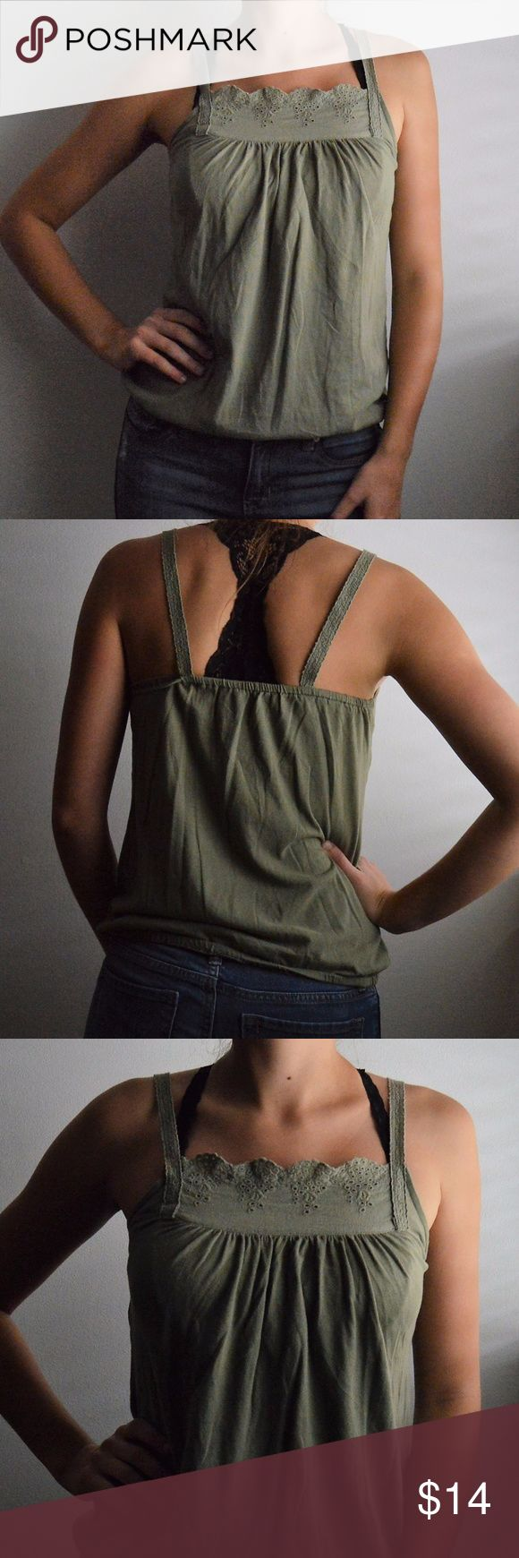 [old navy] olive tank top Olive tank top from Old Navy. Also comes in fuchsia and gray (see other listings). Lace detail on top of tank. SIze: XS Like new condition!  This listing is for ONE tank...create a bundle for all three and a special deal! Old Navy Tops Tank Tops