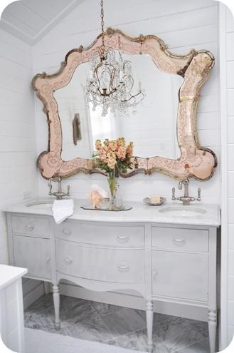 Gorgeous.....I need to do this in the master bath!: Vintage Mirror, Mirror Mirror, Venetian Mirror, Shabby Chic, Vanities, Bathroom Mirror, Mirrormirror, White Bathroom, Powder Rooms