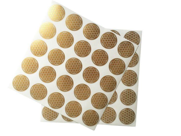 Blume des Lebens Aufkleber, Etiketten, Gold, 2,5 cm Durchmesser, 50 Stück: Amazon.de: Bürobedarf & Schreibwaren