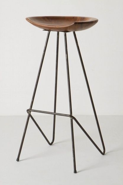 brilliant wood and steel stool