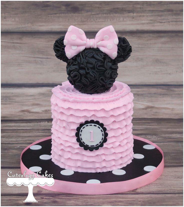 Minnie Mouse smash cake www.facebook.com/i.love.cuteology.cakes