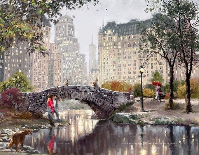 Richard Macneil, Осень в Центральном парке. Нью-Йорк. картина раскраска по №, размер 40х50см.