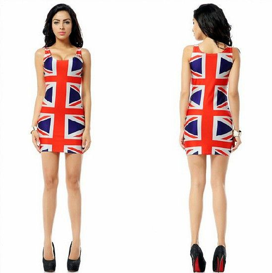 Free Shipping New Brand Lady Sexy One-piece Dress Union Jack Print Elastic Bandage Pencil Tank Dress Hip Package Skirt #365 $18.78