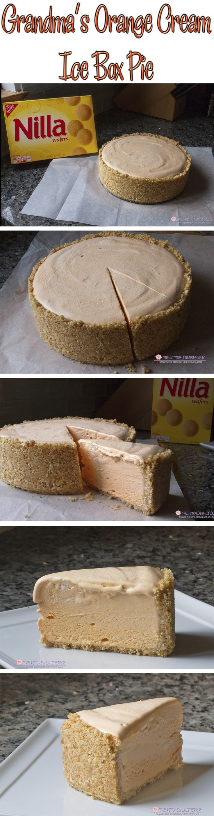 Grandma's Orange Cream Ice Box Pie - My Grandmother's orange cream ice box pie with NILLA Wafters crust is luscious, creamy, dreamy and no bake! It's the perfect warm weather pie!