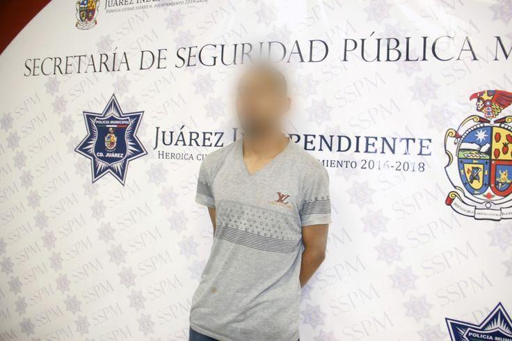 Juárez, Chih.- Policías Municipales realizaron la detención de Lorenzo Antonio S. M., por su presunta responsabilidad en la comisión