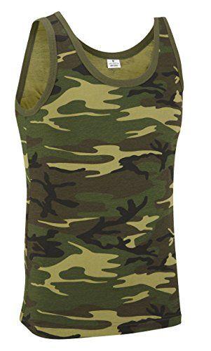 Mimetico Militare Canotta - Bosco Mimetico - cotone, Waldland Camouflage, 100% cotone.\n\t\t\t\t 100% cotone, Uomo, Mimetico, XL