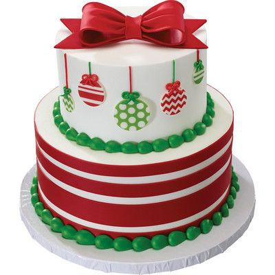 Gum Paste Bow and DecoShapes Ornaments Stacked Christmas Cake | Christmas Cake Ideas for the Bakery using edible cake decorations