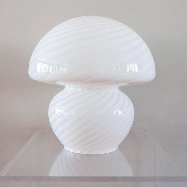 Iconic Italian Mushroom Lamp By Vetri Murano Hand Blown Murano Glass With A White Swirl Pattern The Lamp Is 12 Wide At Lamp Mushroom Lamp Glass Mushrooms