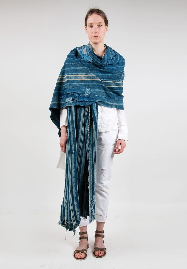 Greg Lauren Ribbon Spine Wrap Shawl in Indigo | Santa Fe Dry Goods