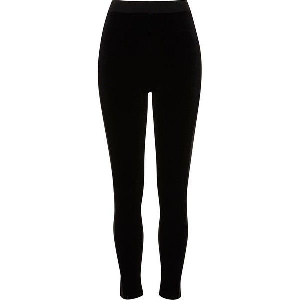 River Island Black velvet front high waisted leggings ($50) ❤ liked on Polyvore featuring pants, leggings, black, women, high waisted velvet leggings, velvet leggings, high-rise leggings, legging pants and tall pants