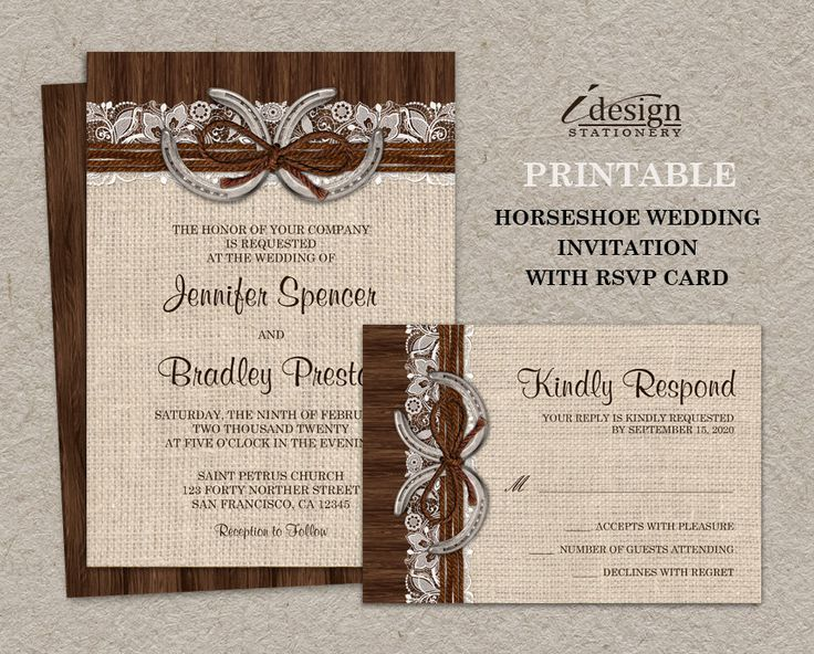 DIY Printable Rustic Country Western Horseshoe Wedding Invitation Kit With  A Burlap And Lace Design,