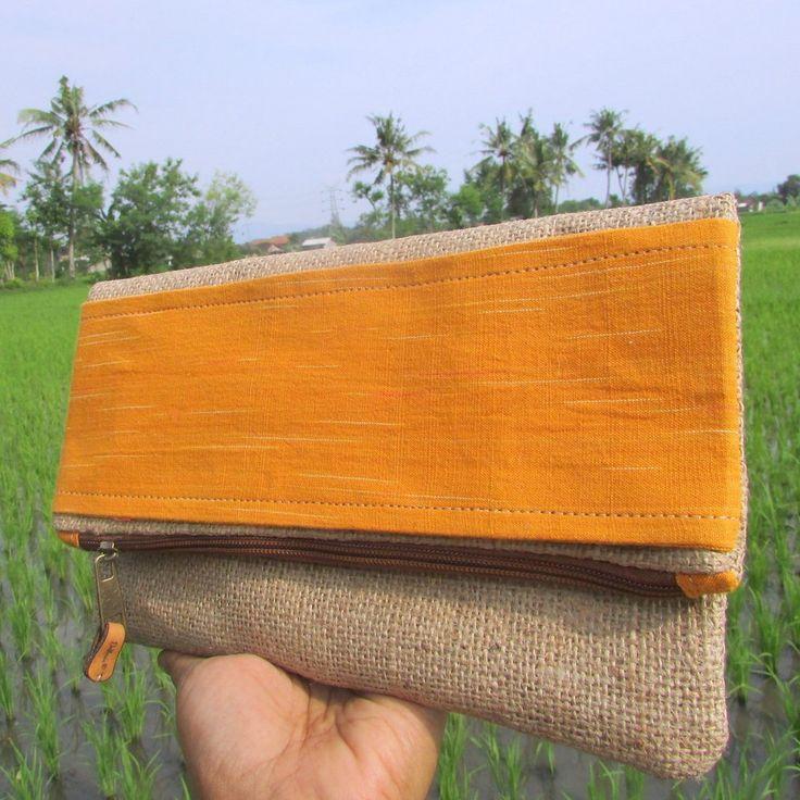 Alicia Yellow Convertible Tenun Lurik Gunny Clutch Bag   Clutch Bag Handmade Goni Tenun Lurik
