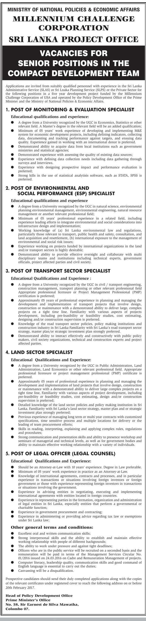 Monitoring & Evaluation Specialist, Environmental & Social Performance (ESP) Specialist, Transport Sector Specialist, Land Sector Specialist, Legal Officer at Ministry of National Policies & Economic Affairs | Career First