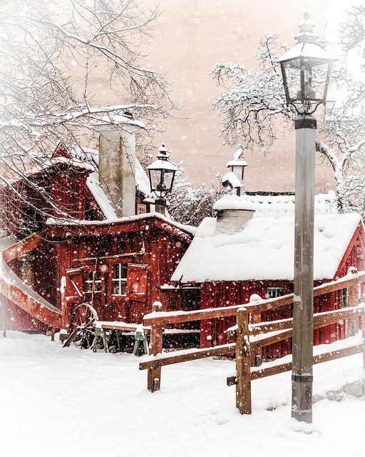 Playground Bryggartäppan in snow, Södermallm, Stockholm, Sweden