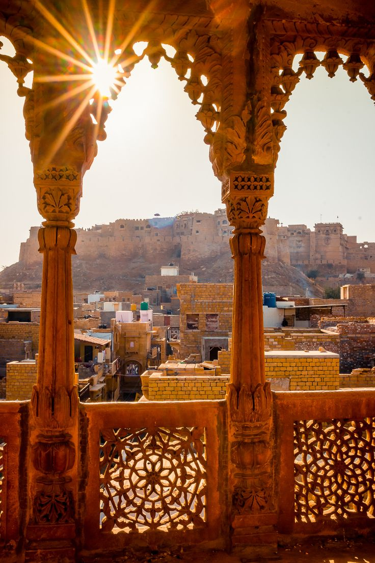 View of Jaisalmer Fort from one of the Havelis, India. It's a cute little town, and our Hostel (Dylan Café, recommended!) was cheap and very relaxing.