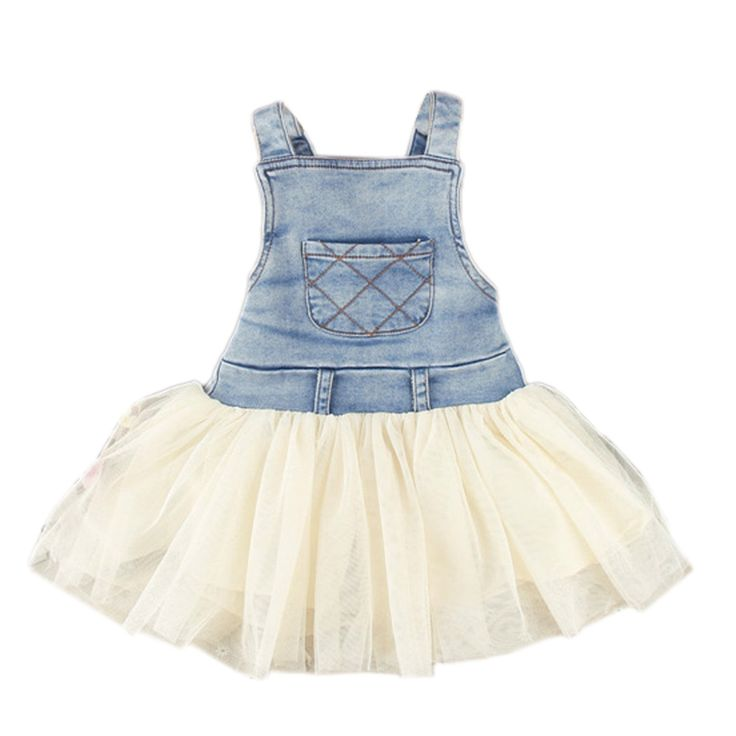 Finejo Girl's Jeans Tulle Super Cute Party Dress Suspender Skirt: Clothing