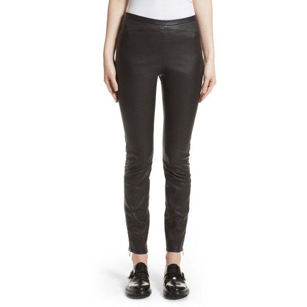 Women's Belstaff Gazelle Leather Leggings ($1,195) ❤ liked on Polyvore featuring pants, leggings, black, real leather leggings, slim pants, genuine leather pants, leather legging pants and stretch pants