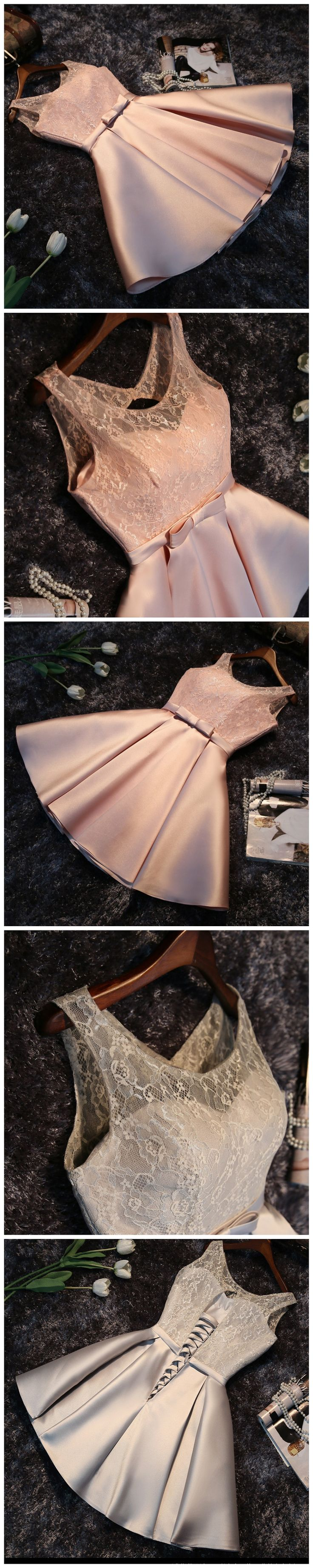 2017 A-LINE SCOOP SATIN SHORT PROM DRSESS HOMECOMING DRESS WITH LACE PARTY DRESS