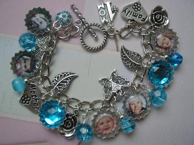 mini bottle charms | Mini Bottle Cap Charm Bracelet for Mother, Sister, Daughter or Nana